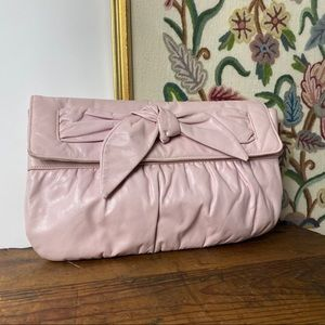 pretty in pink bow pleather purse